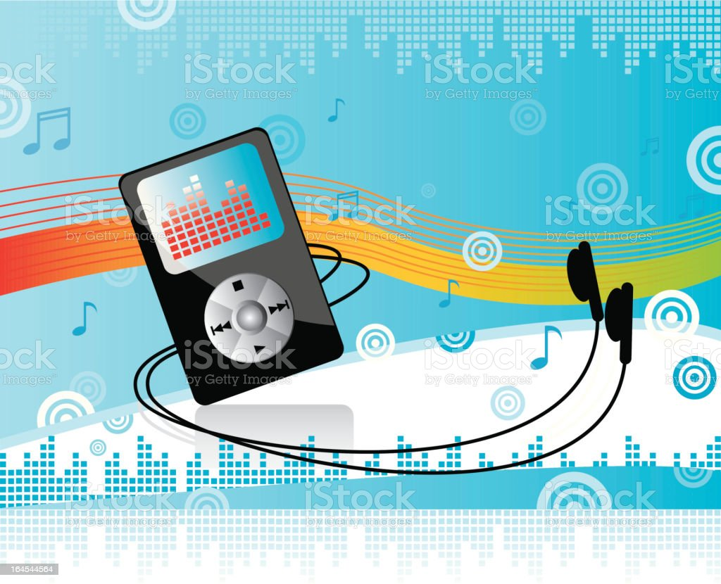 Portable digital music player vector art illustration