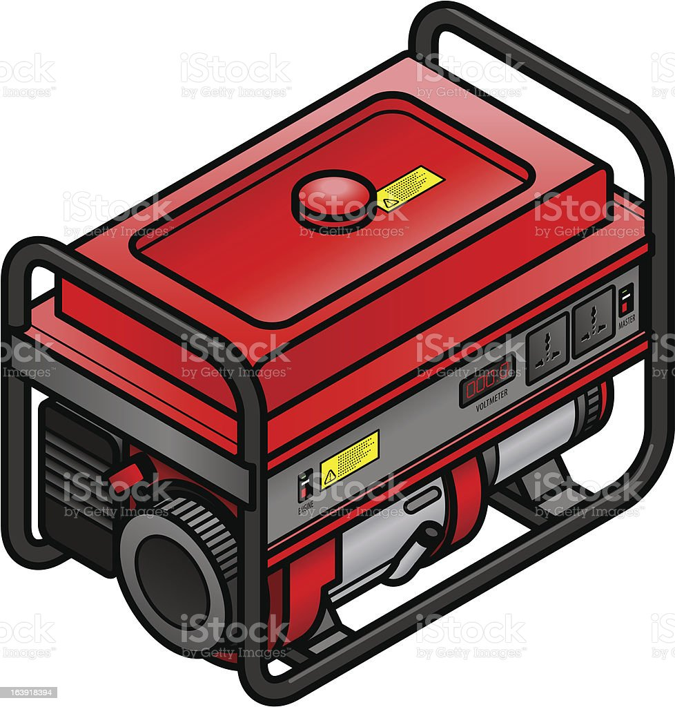 Portable petrol/gasoline generator vector art illustration