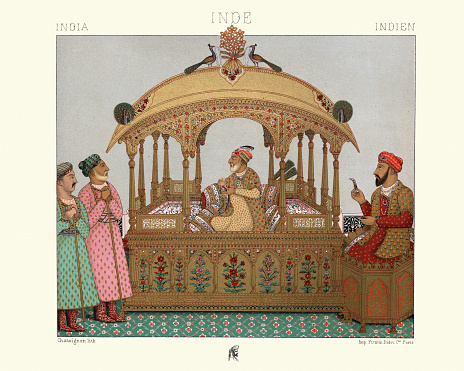 Vintage illustration of Portable throne of Mughal emperors, India
