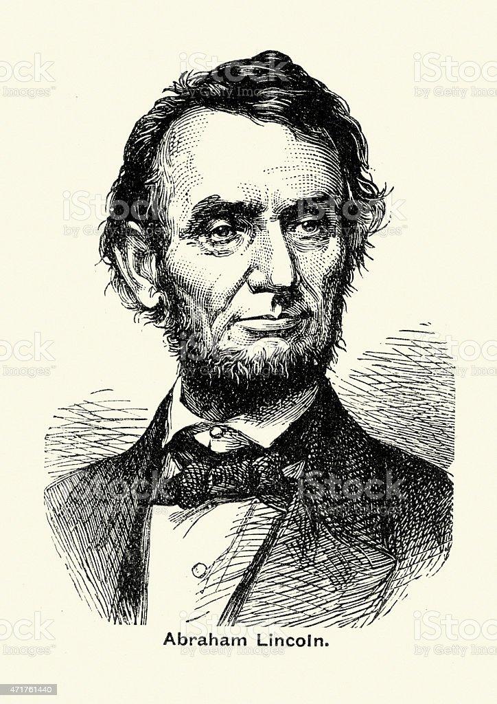Portait of Abraham Lincoln vector art illustration