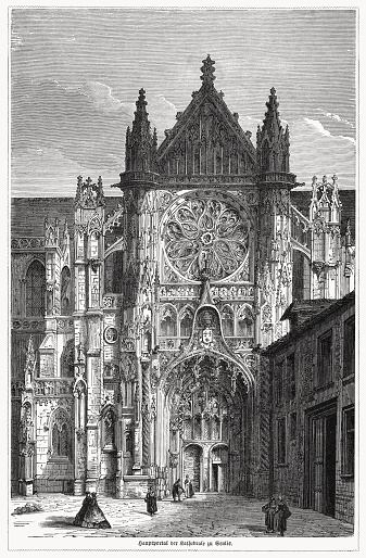 Historical view of the main portal of the Cathedral Notre-Dame of Senlis - Roman Catholic church and former cathedral in Senlis, Oise, France. Built between the mid-12th and mid-13th centuries. Wood engraving, published in 1868.