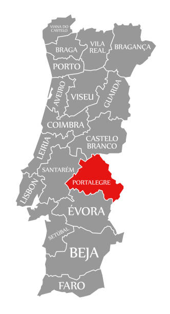 ilustrações de stock, clip art, desenhos animados e ícones de portalegre red highlighted in map of portugal - portalegre
