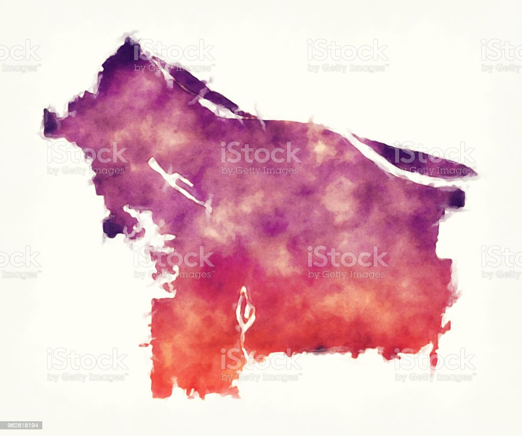 Portland Oregon city watercolor map in front of a white background vector art illustration
