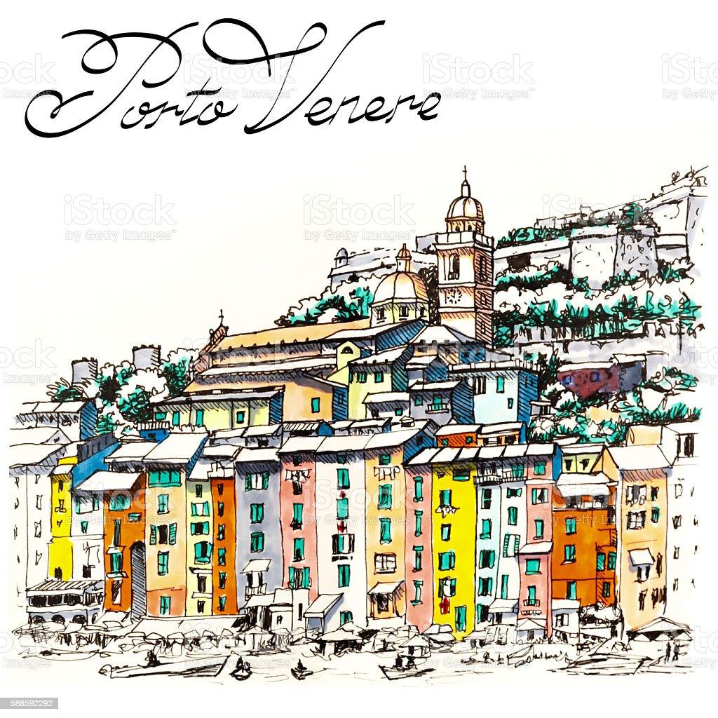 Porto Venere, La Spezia, Liguria, Italy vector art illustration