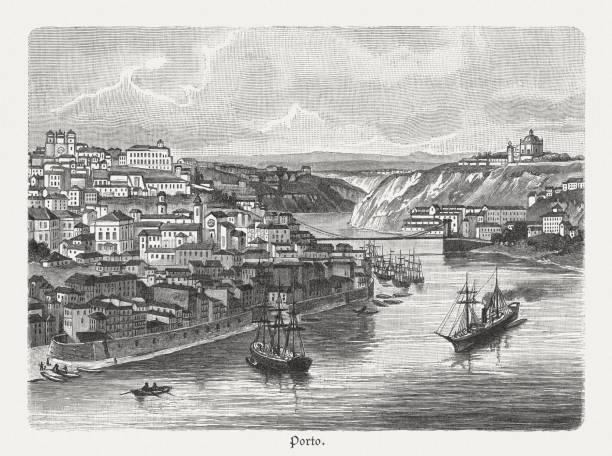ilustrações de stock, clip art, desenhos animados e ícones de porto with the douro estuary, wood engraving, published in 1897 - douro