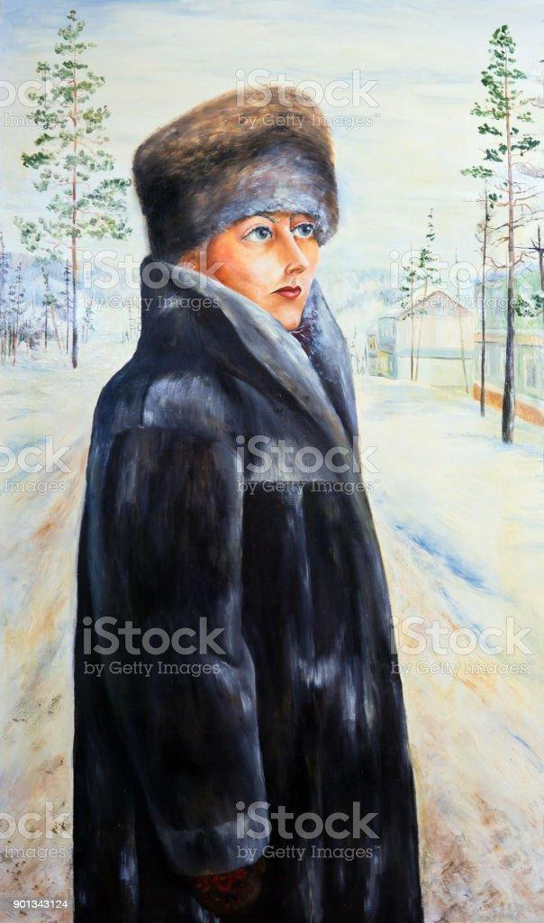 Portrait of a beautiful girl in a fur coat vector art illustration