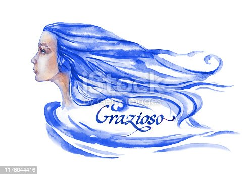 Portrait of a beautiful girl in profile with developing long hair in blue color. Calligraphic inscription. Watercolor illustration on a white background.