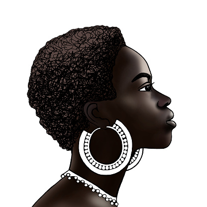 portrait of a black girl in profile on a white isolated background
