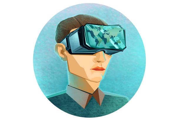 illustrazioni stock, clip art, cartoni animati e icone di tendenza di portrait of a boy with a vr headset - ritratto 360 gradi