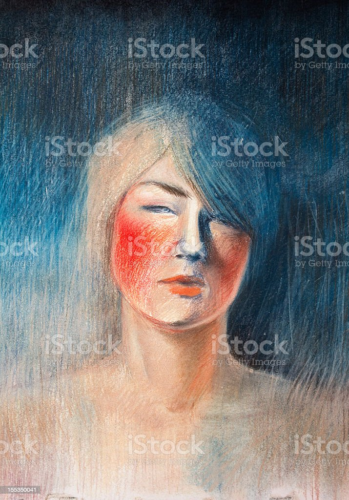 Portrait of a confused girl royalty-free stock vector art