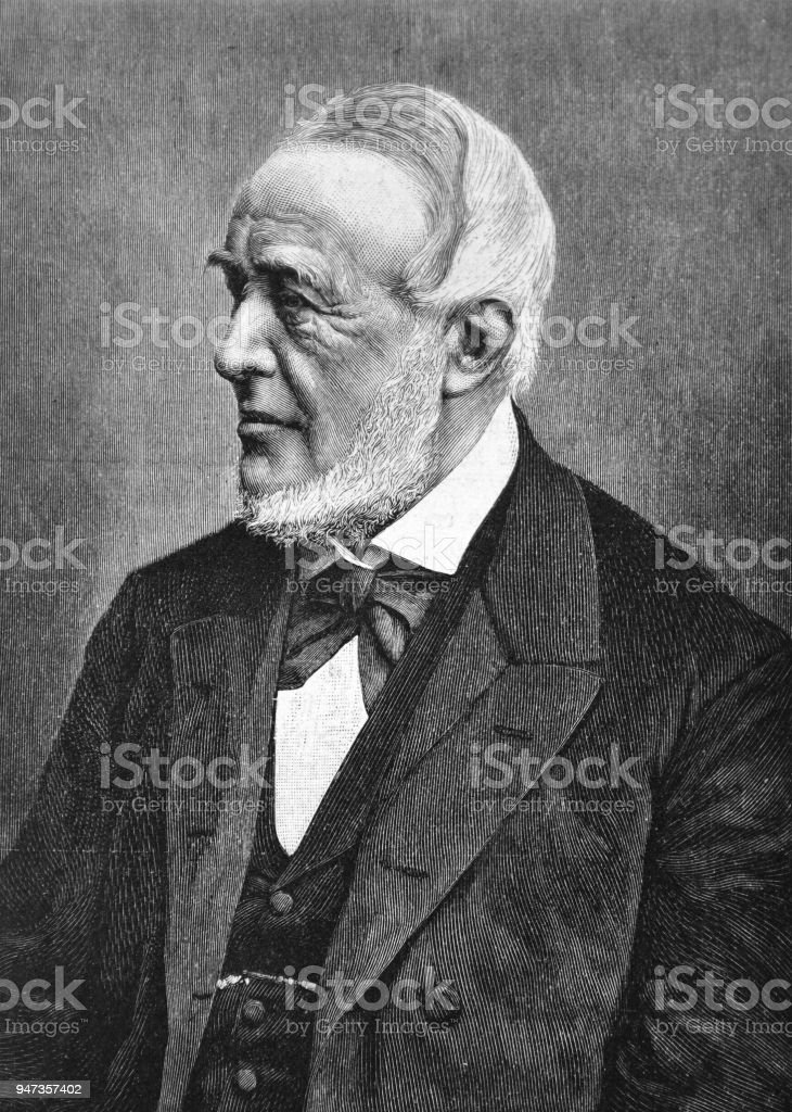 Portrait of a distinguished man with a white beard _ 1895 vector art illustration