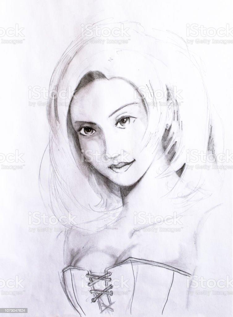 Portrait Dune Jeune Fille Dessinée Au Crayon Sur Papier