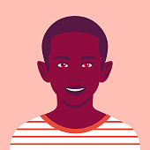 Portrait of a happy African boy. The face of a smiling child. Avatar of a schoolboy. Vector flat illustration
