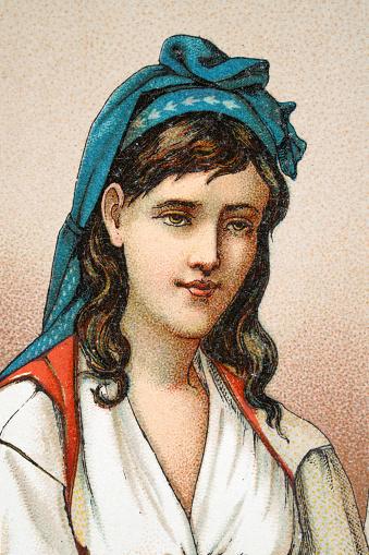 Portrait of a Kouloughlis, Algerian woman, headcloth, 19th Century