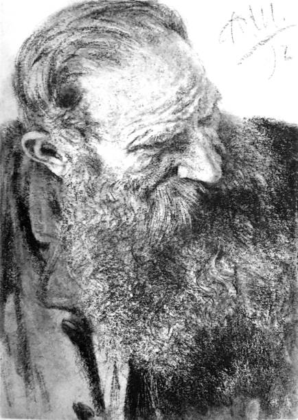 portrait of a man with long beard - old man standing drawings stock illustrations, clip art, cartoons, & icons