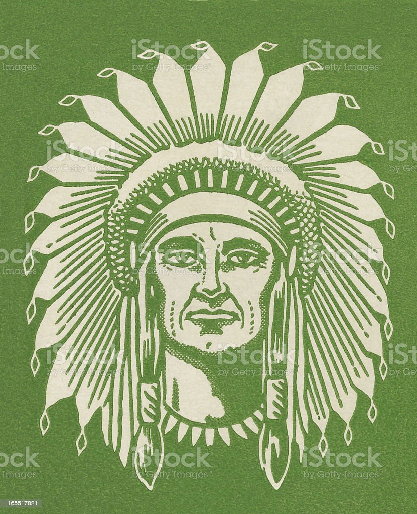 Portrait of a Native Chief royalty-free stock vector art