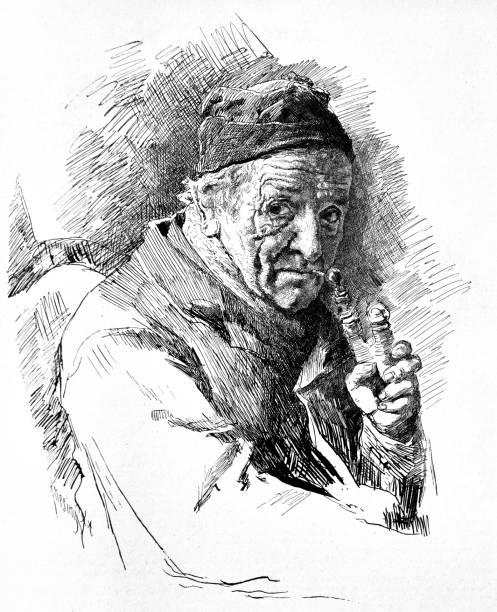 portrait of a seniors smoking a pipe - 1888 - old man smoking pipe drawing stock illustrations, clip art, cartoons, & icons