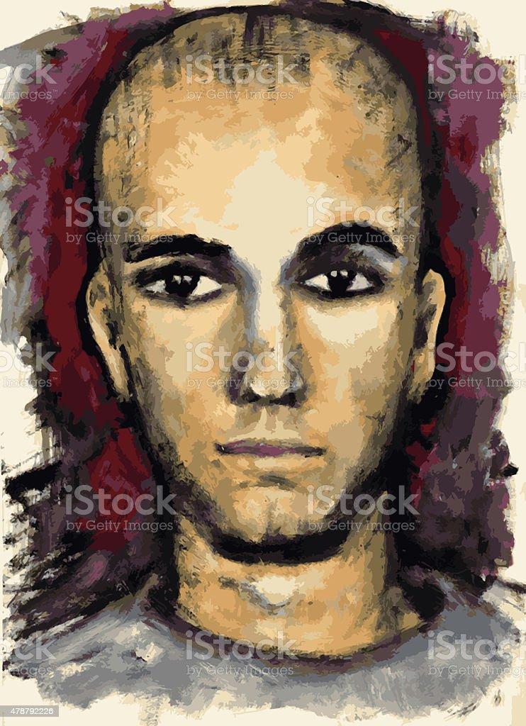Portrait of a serious boy vector art illustration