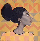 Portrait of a teenager in African style with features of the Jewish ethnic group Falash. Profile picture. The image of a vulnerable teenager just entering adulthood. The hair is pulled back. Digital painting