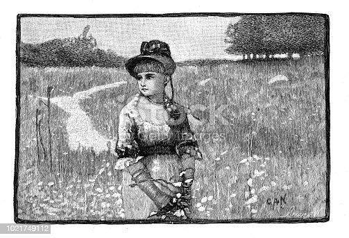 Very Rare, Beautifully Illustrated Antique Engraving of a Portrait of a woman in a field of wildflowers, American Victorian Engraving, 1882 American Victorian Engraving, 1882. Source: Original edition from my own archives. Copyright has expired on this artwork. Digitally restored.