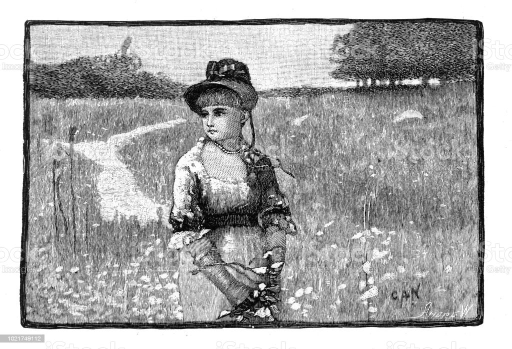 Portrait of a woman in a field of wildflowers, American Victorian Engraving, 1882 vector art illustration