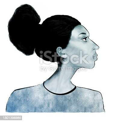 Portrait of a woman of African type - Falashi  in profile on a white background