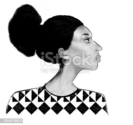 istock Portrait of a woman of African type - Falashi  in profile 1304619924