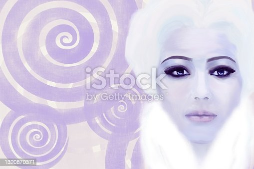 istock Portrait of a woman with blue eyes and blond hair in cold colors. White fluffy collar. Close-up 1320870371
