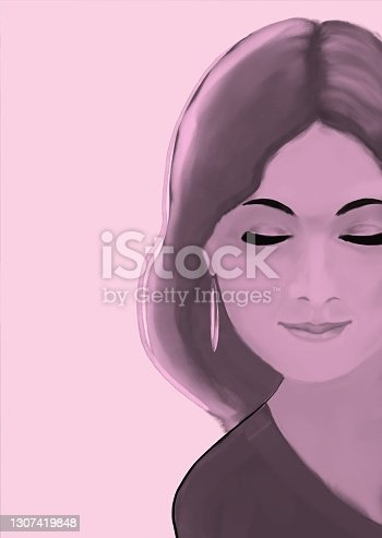 istock Portrait of a woman with long straight hair 1307419848