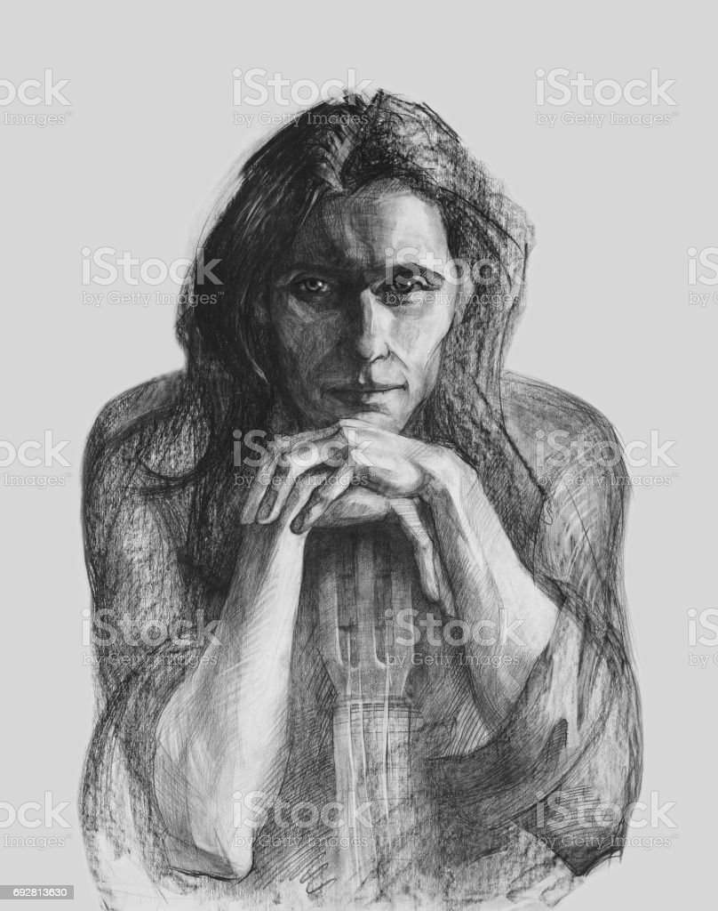 Portrait of a young guitarist in pencil vector art illustration