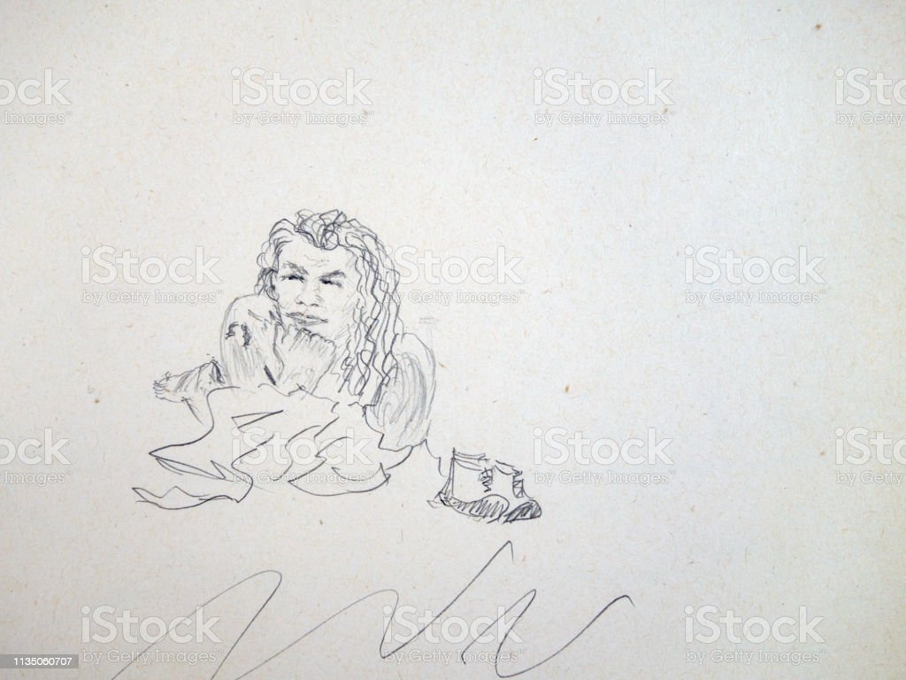 Portrait Of A Young Man Long Curly Hair Lying On The Sand By The Sea His Shoes Are Standing Next To Him Stock Illustration Download Image Now Istock