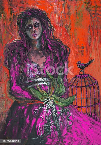Scenic portrait of a young woman in a red dress with a bird in a cage and an orchid flower in hands