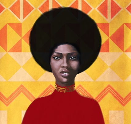 Portrait of a young woman of African style Falashi. The girl is depicted full face against the background of traditional geometric African ornament. The gaze is focused and directed towards the viewer. Embossed brushstroke technique