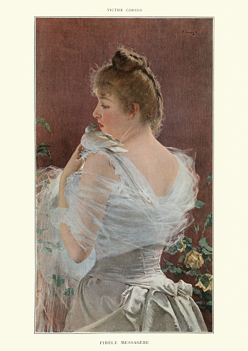 Portrait of a young woman with a white dove, Victorian
