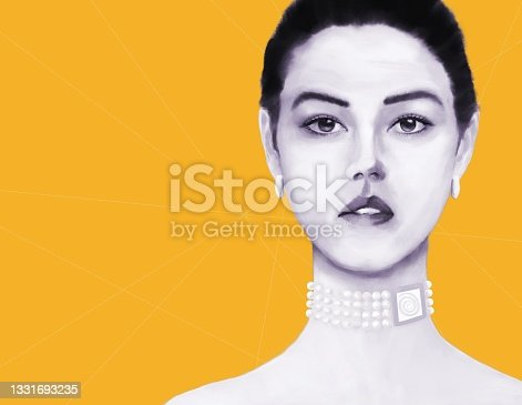 istock Portrait of a young woman with Asian and European roots with decorations including the symbol of the sun 1331693235