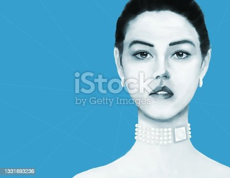 istock Portrait of a young woman with Asian and European roots with decorations including the symbol of the sun 1331693236