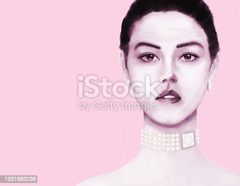 istock Portrait of a young woman with Asian and European roots with decorations including the symbol of the sun 1331693239