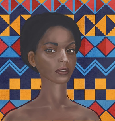 Portrait of a young women of African type with the features of the Jewish ethnic group of Falashi. The girl is depicted in three quarters, close-up