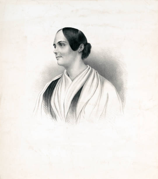 Portrait of Abby Kelley Foster, American Abolitionist Vintage portrait of Abby Kelley Foster, an American abolitionist and radical social reformer active from the 1830s to 1870s. She became a fundraiser, lecturer, and committee organizer for the American Anti-Slavery Society, where she worked closely with William Lloyd Garrison and other radicals. She  worked for equal rights for women and for slaves/African-Americans. suffragist stock illustrations