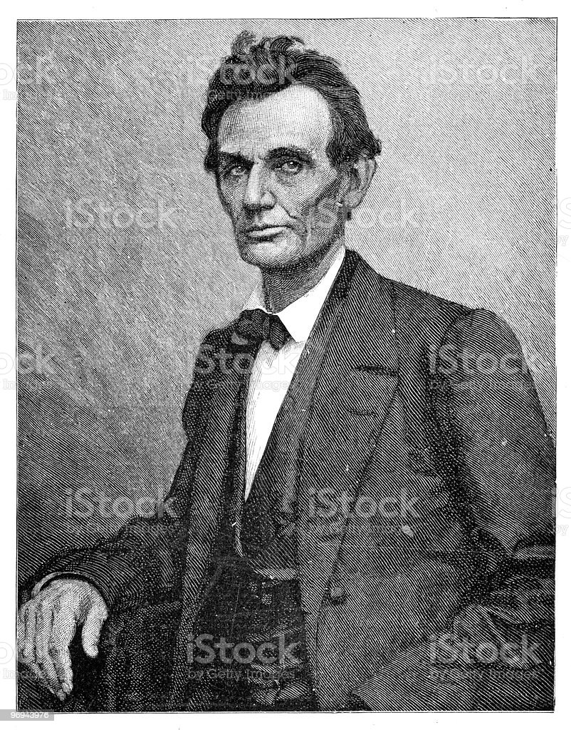 Portrait of Abraham Lincoln, 1860 vector art illustration