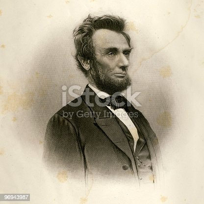 Vintage engraving of Abraham Lincoln, after a photograph made in early 1865. Stains and age spots are authentic and add to the character of the portrait. Published in an 1872 book, the image is now in the public domain. Digital restoration by Steven Wynn Photography.