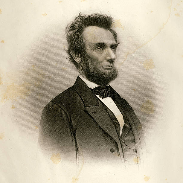 portrait of abraham lincoln in 1865 - abd başkanı stock illustrations