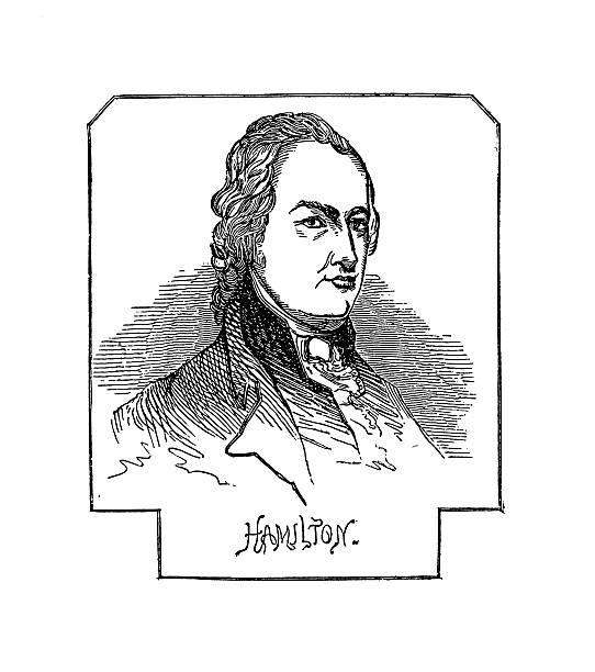 Portrait of Alexander Hamilton | Historic American Illustrations vector art illustration