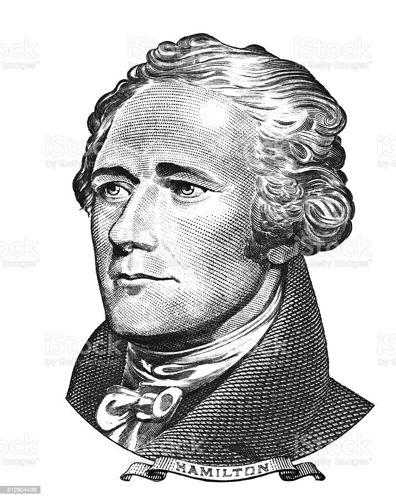 Portrait of Alexander Hamilton vector art illustration