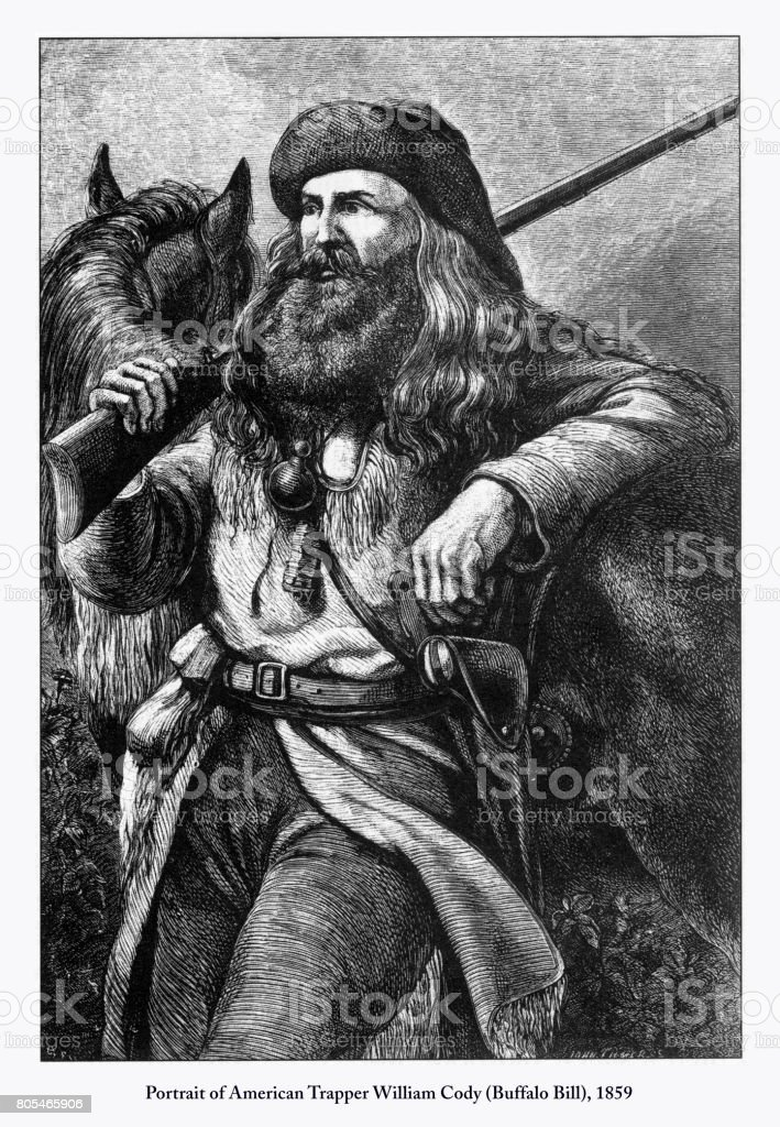 Portrait of American Trapper William Cody (Buffalo Bill) Engraving, 1859 vector art illustration