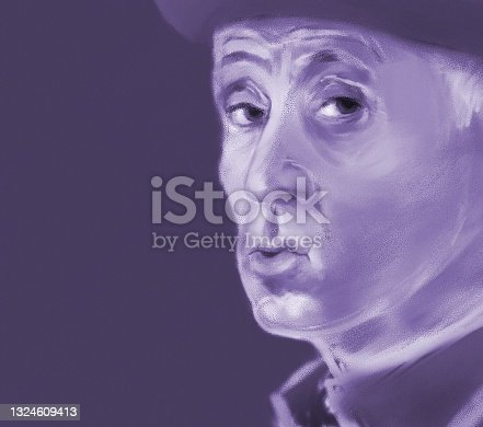 istock Portrait of an adult man in a hat with an incredulous expression on his face in pastel technique 1324609413