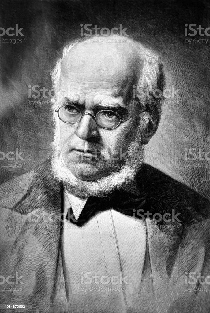 Portrait of an adult man wearing glasses - 1895 vector art illustration