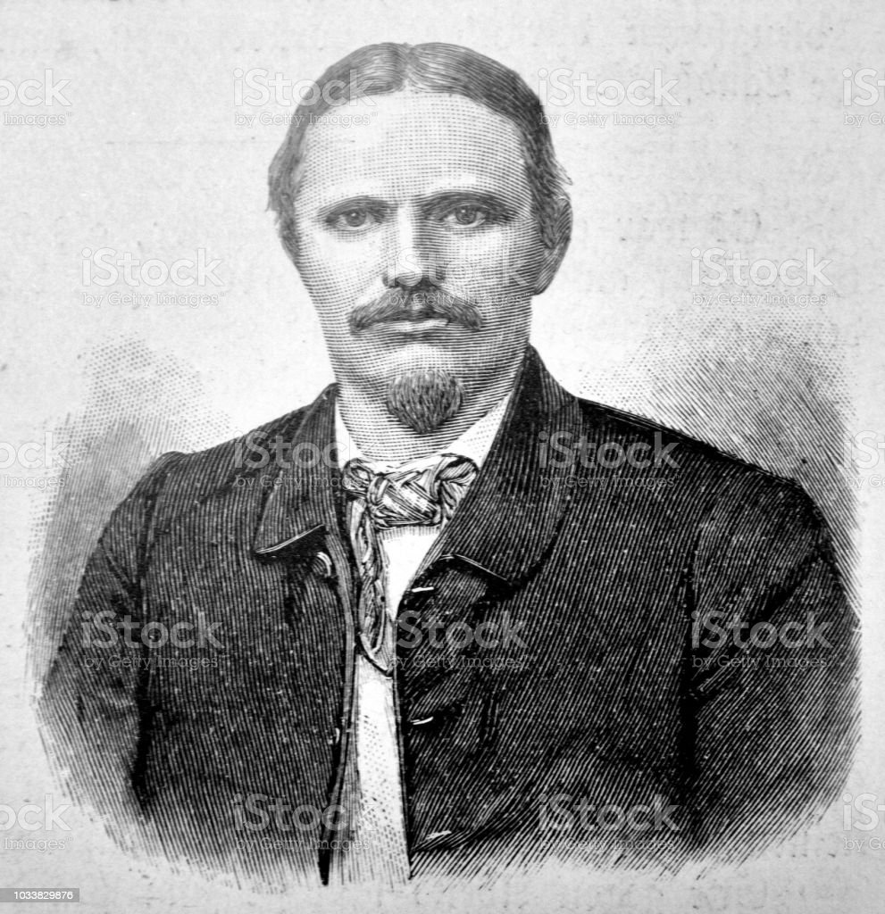 Portrait of an adult man with a moustache and a goat beard - 1895 vector art illustration