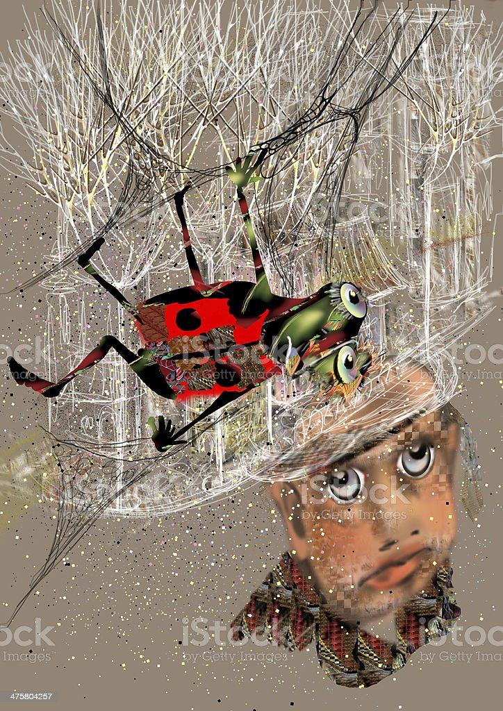 portrait of an ugly man looking at beetle crawling vector art illustration