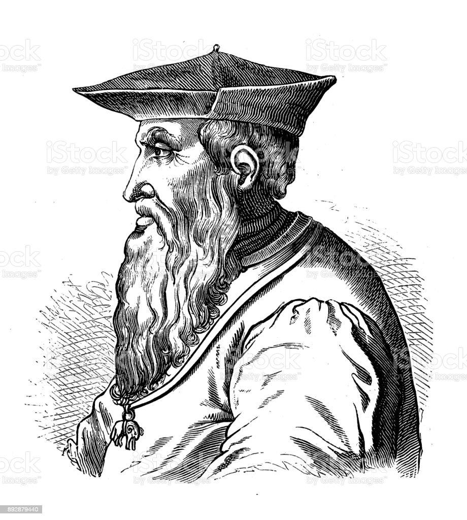 Portrait of Andrea Doria vector art illustration